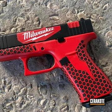 Milwaukee Tools Themed Glock 43x Cerakoted Using Usmc Red And Bright White