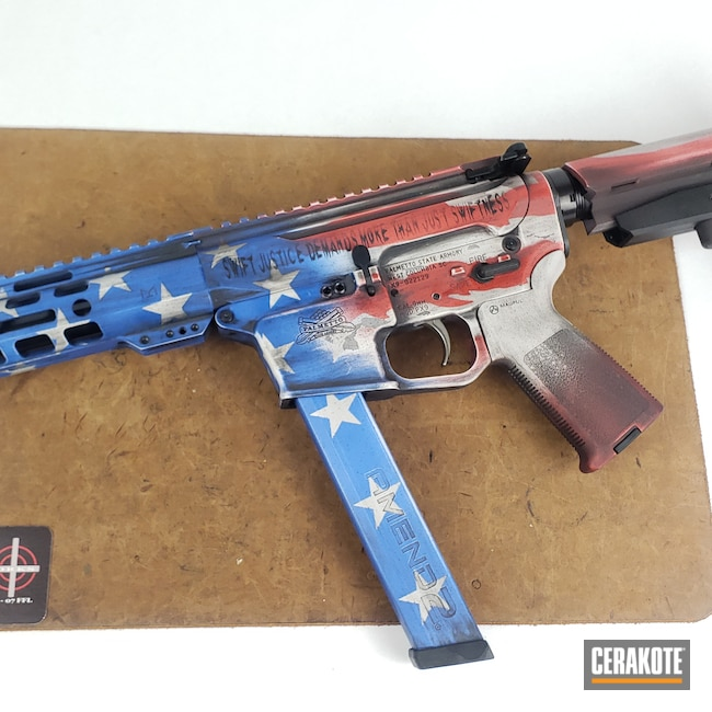 Cerakoted: S.H.O.T,Palmetto State Armory,USMC Red H-167,American Flag,PSA,9mm,NRA Blue H-171,Battleworn,Battleworn Flag,Graphite Black H-146,Distressed American Flag,FROST H-312,PX9,AR9