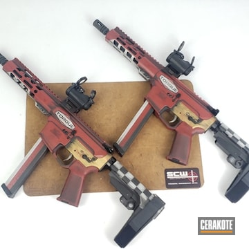 Set Of Borderlands Torgue Themed  Ar9's Cerakoted Using Crimson, Frost And Graphite Black