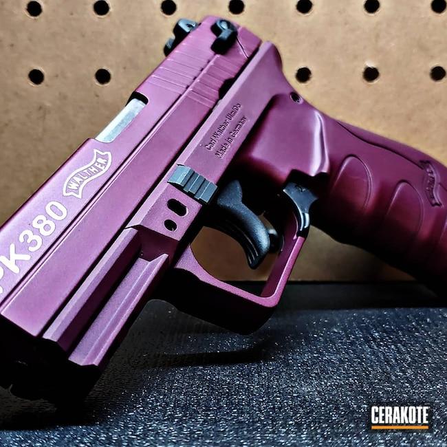 Cerakoted: S.H.O.T,Walther,Clean,BLACK CHERRY H-319,.380,Satin Aluminum H-151,Pistol,PK380,Handgun