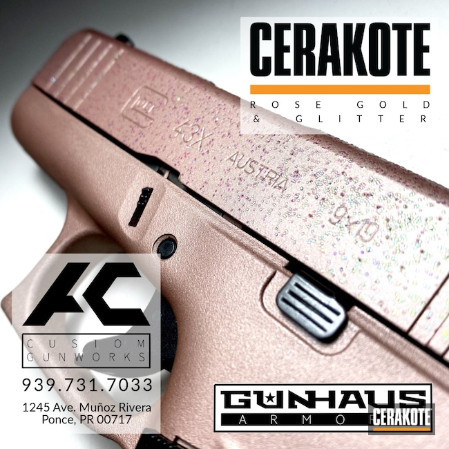 Cerakoted: S.H.O.T,9mm,Glock,ROSE GOLD H-327,43x,Handgun
