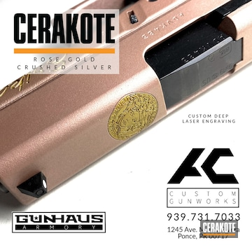 Versace Themed Glock 43 Cerakoted Using Rose Gold And Crushed Silver