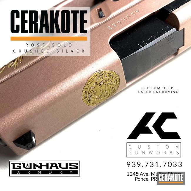 Cerakoted: 9mm,Crushed Silver H-255,Glock,ROSE GOLD H-327,Glock 43,Handgun
