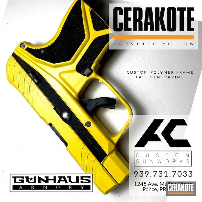 Cerakoted: S.H.O.T,Corvette Yellow H-144,Ruger,.380,LCP2,Handgun