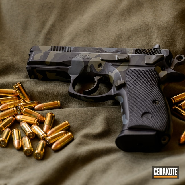 Cerakoted: S.H.O.T,Armor Black H-190,Pistol,O.D. Green H-236,CZ,75-P01