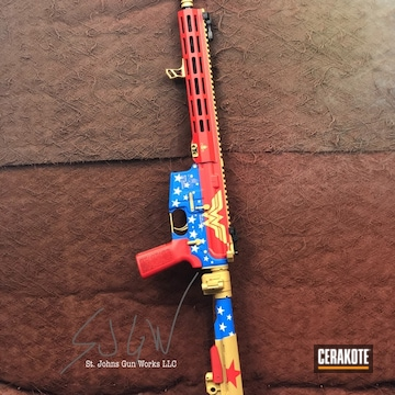 Wonder Women Themed Ar Cerakoted Using Stormtrooper White, Usmc Red And Nra Blue