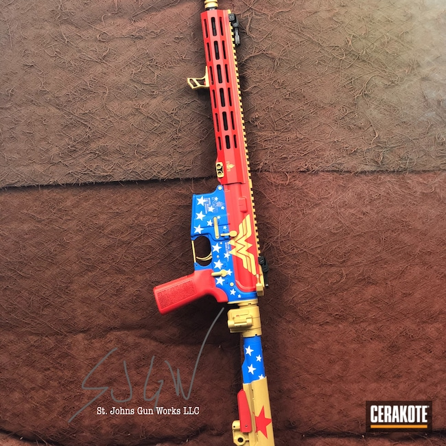 Cerakoted: S.H.O.T,Zion,Wonder Woman,Israel Weapon Industries,NRA Blue H-171,Stormtrooper White H-297,USMC Red H-167,IWI,5.56,Gold H-122,AR-15