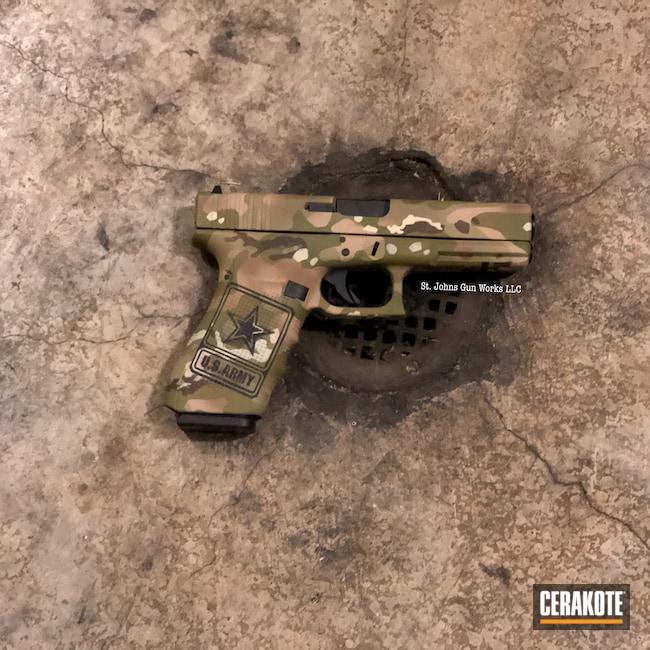 Cerakoted: S.H.O.T,.45,Glock 21,Cerakote,MULTICAM® OLIVE H-344,MULTICAM® PALE GREEN H-339,Multicam Glock,MultiCam,Desert Sand H-199,BENELLI® SAND H-143,Glock,Multicam Cerakote,GLOCK® FDE H-261,MULTICAM® DARK GREEN H-341,Army Cerakote
