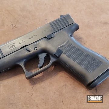 Glock 43x Cerakoted Using Graphite Black And Burnt Bronze