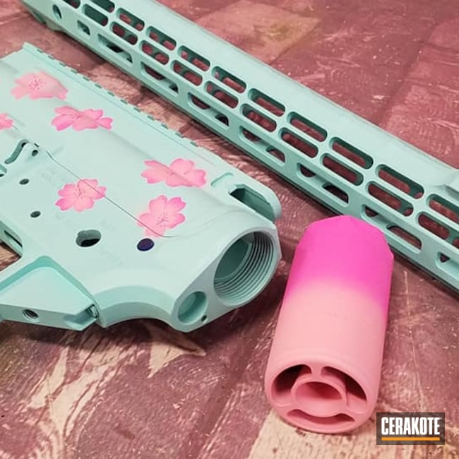 Cerakoted: S.H.O.T,Aero Precision,Bazooka Pink H-244,Robin's Egg Blue H-175,Pink,Tactical Rifle,Prison Pink H-141,Flowers,Guns for Girls,Custom Blend,AR Build,AR-15