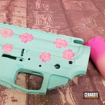 Ar Builders Set Cerakoted Using Bazooka Pink, Prison Pink And Robin's Egg Blue