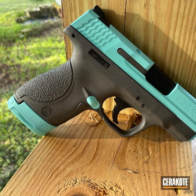 Cerakoted: Robin's Egg Blue H-175,M&P Shield 9mm,Smith & Wesson,Tungsten H-237