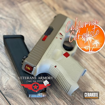 Custom Glock Cerakoted Using Usmc Red, Chocolate Brown And Coyote Tan