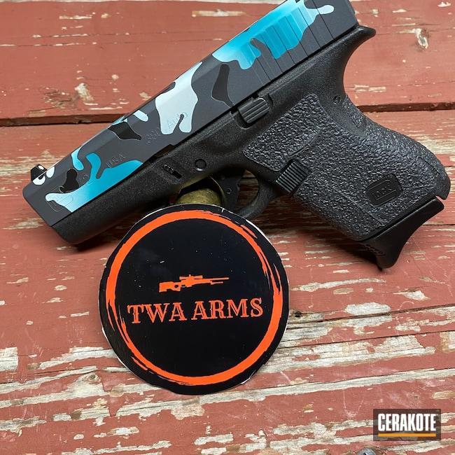 Cerakoted: Bright White H-140,S.H.O.T,Sniper Grey H-234,AZTEC TEAL H-349,Graphite Black H-146,.380,Pistol,Glock,Custom Camo