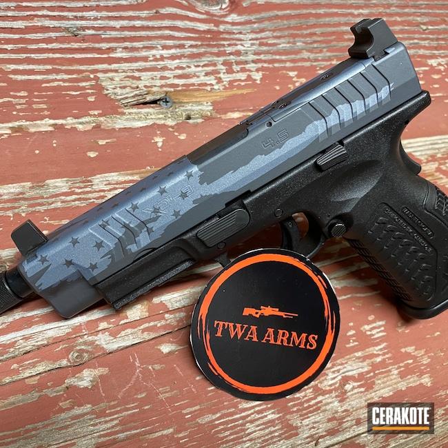 Cerakoted: S.H.O.T,9mm,Custom Mix,Sniper Grey H-234,Springfield XDM,NRA Blue H-171,Titanium H-170,Pistol,American Flag