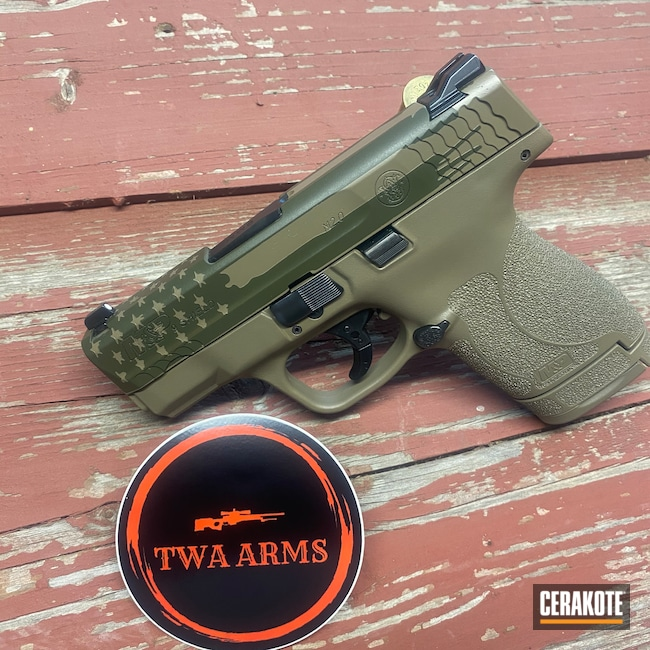 Cerakoted: S.H.O.T,9mm,MAGPUL® FLAT DARK EARTH H-267,Smith & Wesson,Pistol,American Flag,MAGPUL® O.D. GREEN H-232,M&P Shield
