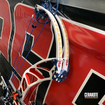 Compound Bow Cerakoted Using Kel-tec® Navy Blue, Bright White And Usmc Red