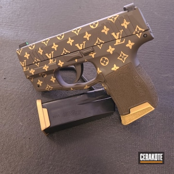 Louis Vuitton Sig Sauer P365 Cerakoted Using Patriot Brown And Gold