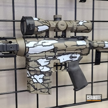 Custom Camo Dpms Ar Build Cerakoted Using Hidden White, Graphite Black And Magpul® Flat Dark Earth