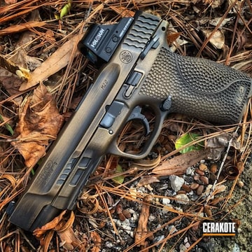 Smith & Wesson M&p Shield Cerakoted Using Burnt Bronze