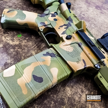 Custom Camo Diamondback Ar Build Cerakoted Using Troy® Coyote Tan, Chocolate Brown And Graphite Black
