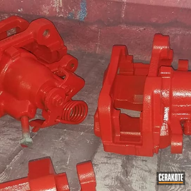 Cerakoted: Brake Calipers,Automotive Parts,Automotive Ceramic,Automotive,Air Dry,STOPLIGHT RED C-143,Calipers,Red