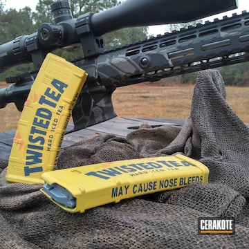Twisted Tea Themed Mags Cerakoted Using Kel-tec® Navy Blue, Hunter Orange And Sunflower