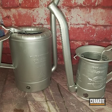 Vintage Oil Cans Cerakoted Using Cerakote Glacier Silver
