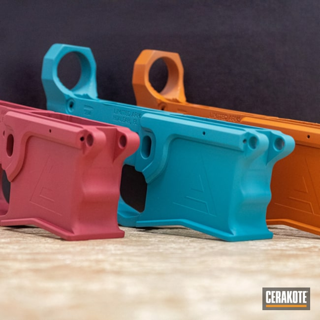 Ar Lowers Cerakoted Using Terra Cotta, Aztec Teal And Sedona