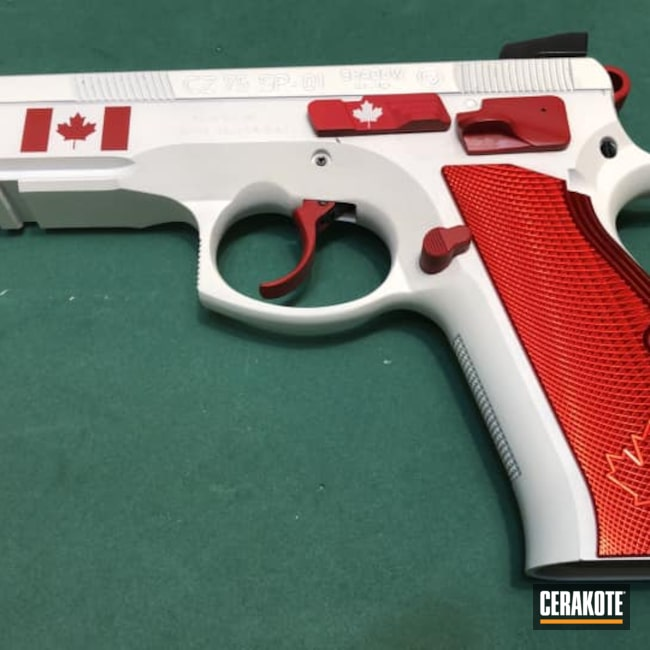 Cerakoted: S.H.O.T,FIREHOUSE RED H-216,Snow White H-136,CZ 75,CZ,Canada Flag