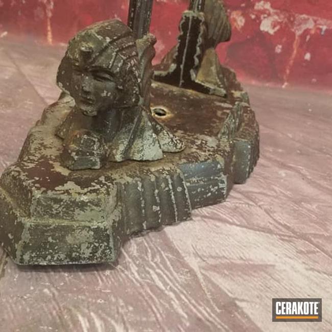 Cerakoted: Custom Mix,Vintage Lamp,Lighting,Egyptian Art Decoration,Burnt Bronze C-148,Vintage,Sphinx,Antique Desk Lamp,BLACK VELVET C-7300