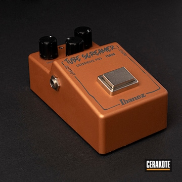 Guitar Foot Pedal Cerakoted Using Copper And Platinum Grey