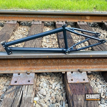 Bike Frame Cerakoted Using Socom Blue