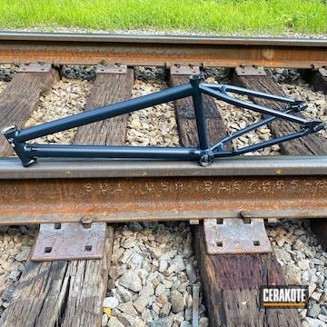 Bike Frame Cerakoted Using Socom Blue