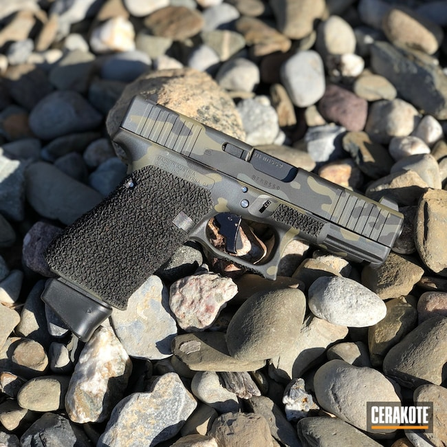 Glock 43 Cerakoted Using Graphite Black And Multicam® Olive