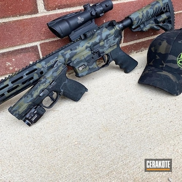 Custom Camo Ar And Pistol Cerakoted Using Graphite Black And Multicam® Dark Green