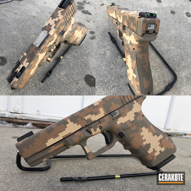 Cerakoted: S.H.O.T,10mm,MAGPUL® FLAT DARK EARTH H-267,Mud Brown H-225,Digital Camo,Camo,BENELLI® SAND H-143,Glock