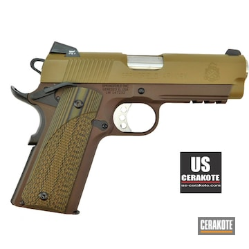 Springfield Armory 1911 Cerakoted Using Troy® Coyote Tan And Chocolate Brown