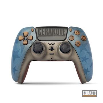 Custom Call Of Duty Themed Ps5 Control Cerakoted Using Mcmillan Tan, Barret Brown, Patriot Brown, Graphite Black, Polar Blue, Sky Blue, Crimson, Ruby Red, Sniper Grey And Battleship Grey