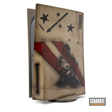 Custom Call Of Duty Themed Ps5 Cerakoted Using Mcmillan Tan, Barret Brown, Patriot Brown, Graphite Black, Polar Blue, Sky Blue, Crimson, Ruby Red, Sniper Grey And Battleship Grey