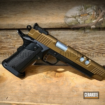 Custom 1911 Cerakoted Using Graphite Black And Burnt Bronze