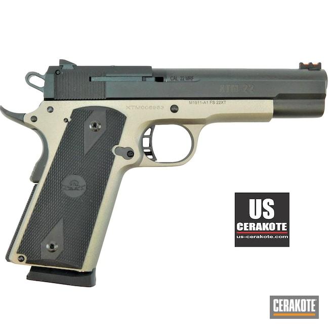 Cerakoted: S.H.O.T,Shimmer Aluminum H-158,1911A1,Handgun Frame,Frame,Pistol,Gun Parts,.22LR,Rock Island,Semi-Auto,Handgun,1911,.22