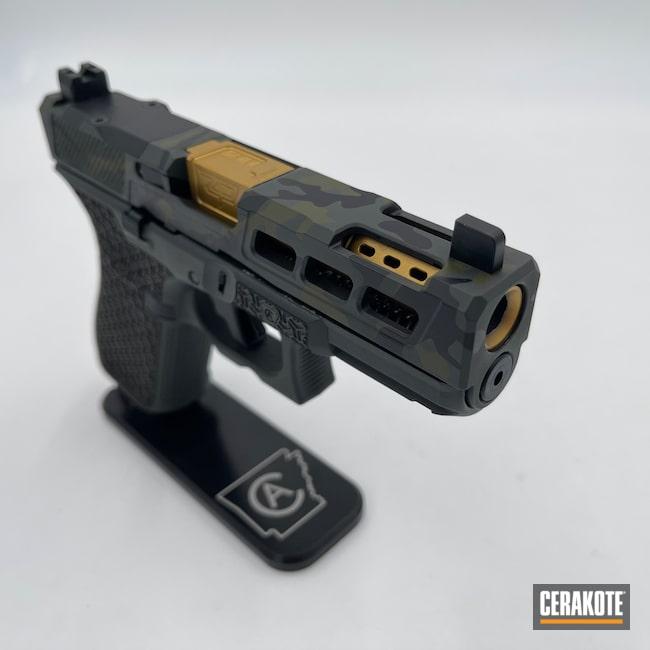 Cerakoted: S.H.O.T,Laser Stippled,Glock 19,Gucci Glock,MultiCam,Sniper Green H-229,Graphite Black H-146,Zaffiri Precision,Pistol,Glock,MULTICAM® DARK GREY H-345
