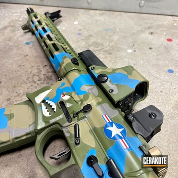A-10 Warthog Plane Inspired Ar Build Cerakoted Using Multicam® Pale Green, Sky Blue And Multicam® Light Green