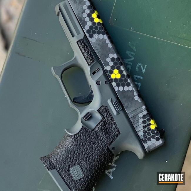 Cerakoted: Corvette Yellow H-144,Graphite Black H-146,Hex,Glock,Glock 23,SIG™ DARK GREY H-210,.40,HexCam