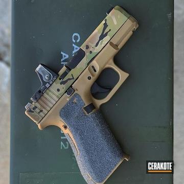 Custom Glock Cerakoted Using Troy® Coyote Tan, Multicam® Bright Green And Graphite Black