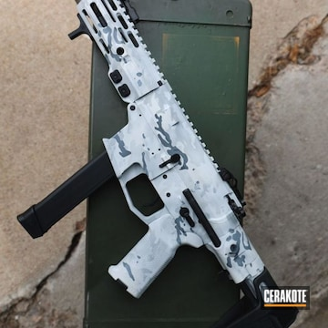 Snow Camo Ar Cerakoted Using Hidden White, Stormtrooper White And Battleship Grey