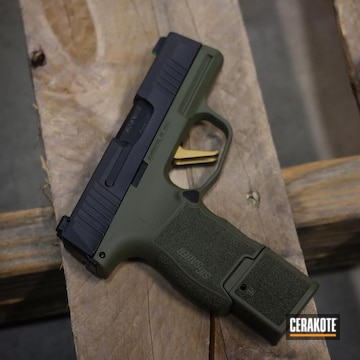 Sig Sauer P365 Cerakoted Using Sniper Green And Gold