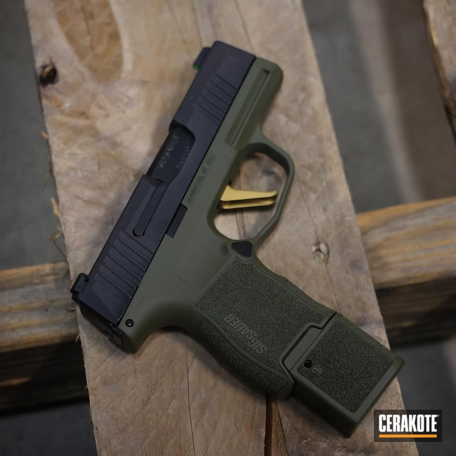 Cerakoted: S.H.O.T,9mm,Sniper Green H-229,p365,Sig Sauer,Gold H-122
