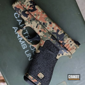 Custom Camo Glock 43x Cerakoted Using Sniper Green, Fs Brown Sand And Graphite Black